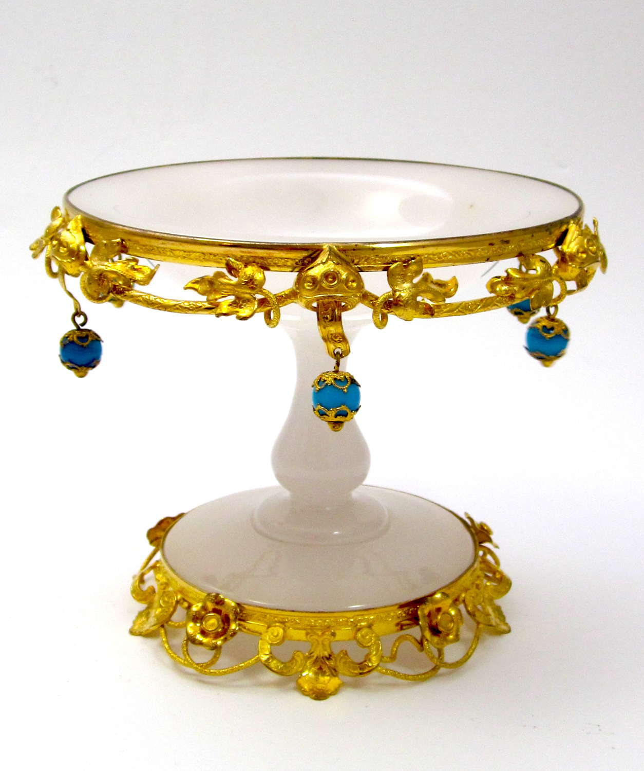 Antique Palais Royal White Opaline Bowl with Blue Opaline Baubles