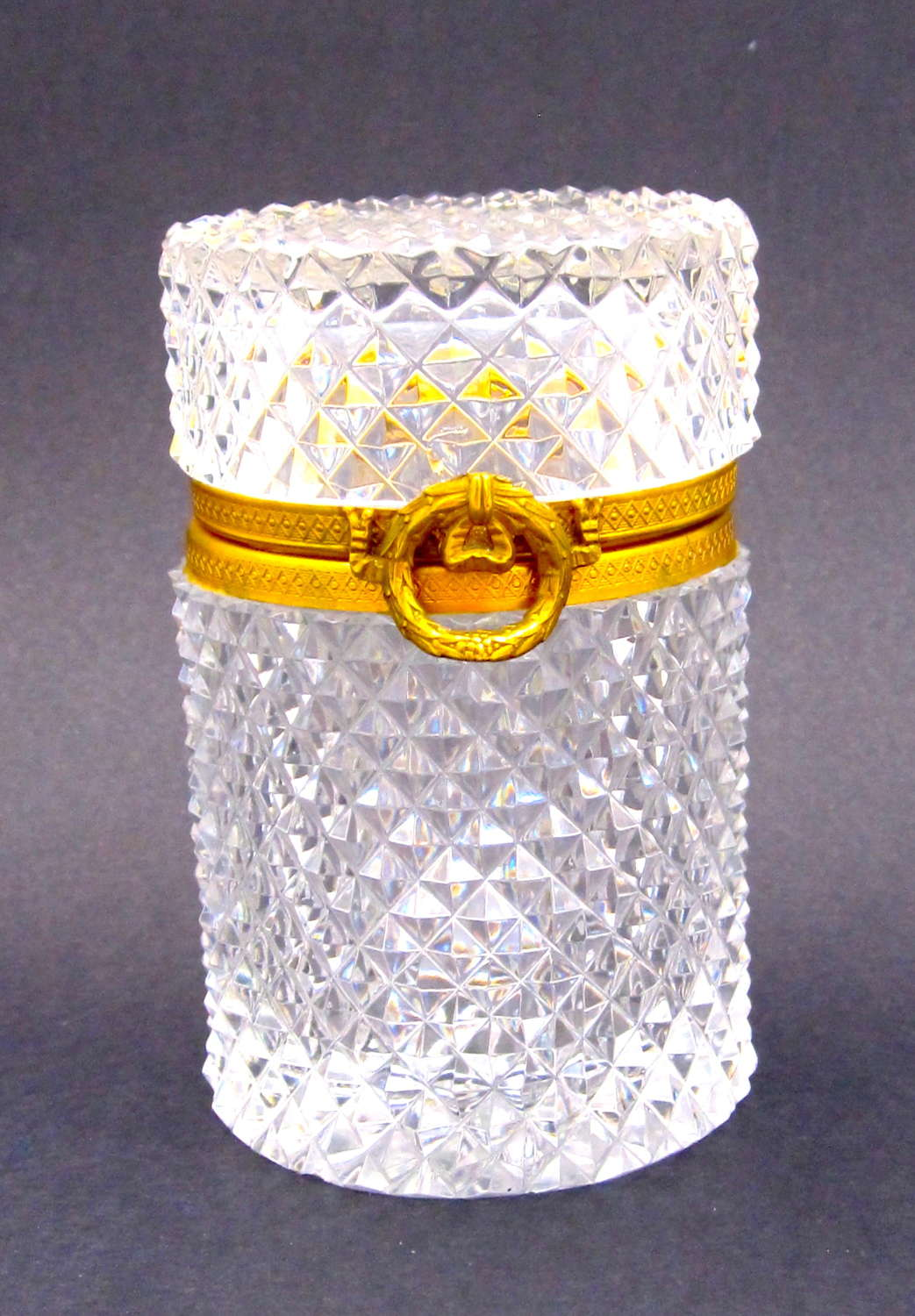 Antique Baccarat Diamond Cut Crystal Glass Casket Box with Bow Clasp