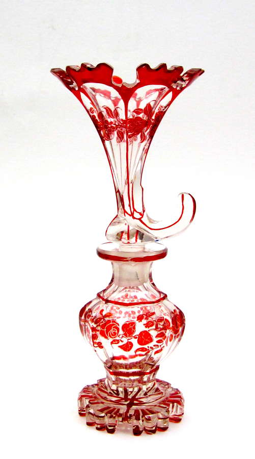 Rare Antique Bohemian Red and Clear Cornucopia Perfume Bottle