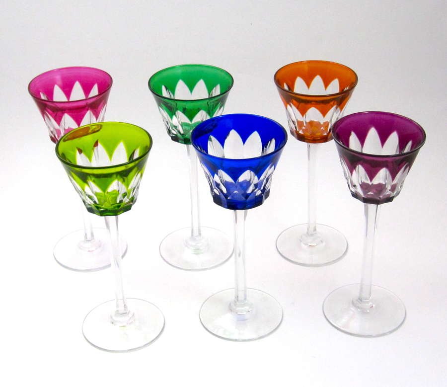 Six Tall Antique Signed BACCARAT CrystalOverlay Wine Glasses.