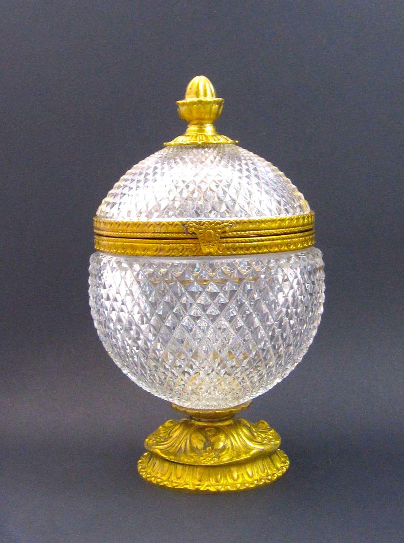 Large Antique BACCARAT Diamond Cut Crystal Casket