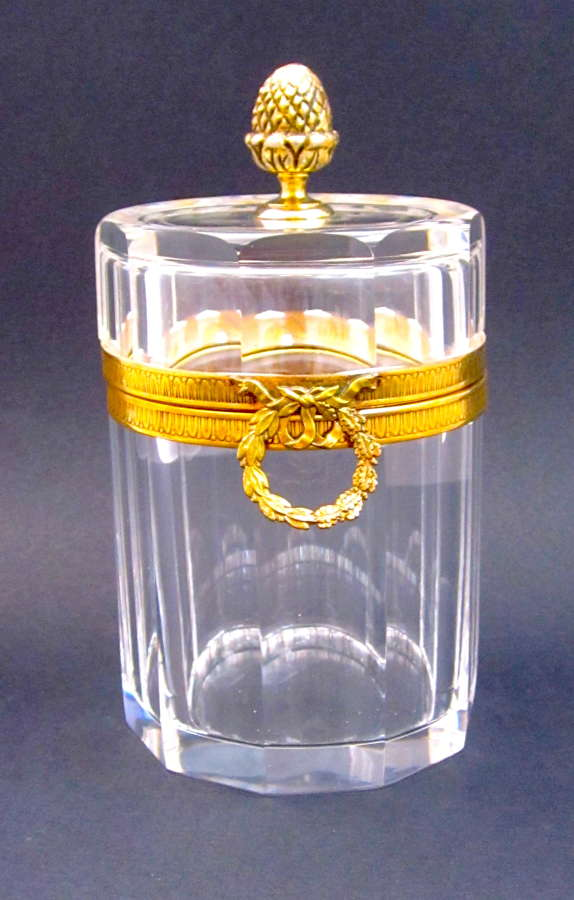 Antique Large BACCARAT Clear Cylindrical Casket with Bow Clasp