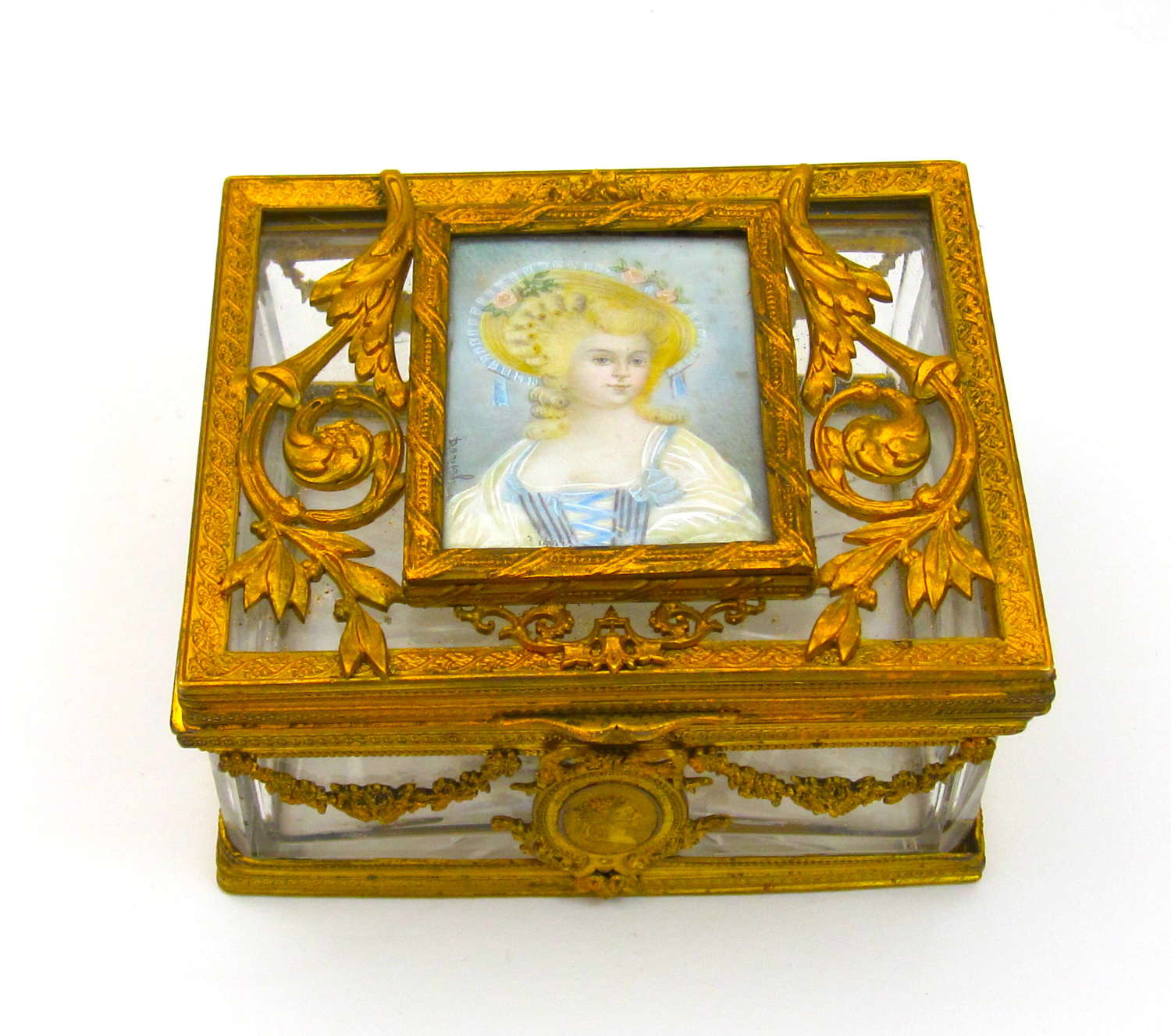 Palais Royal Crystal and Bronze Casket with Miniature
