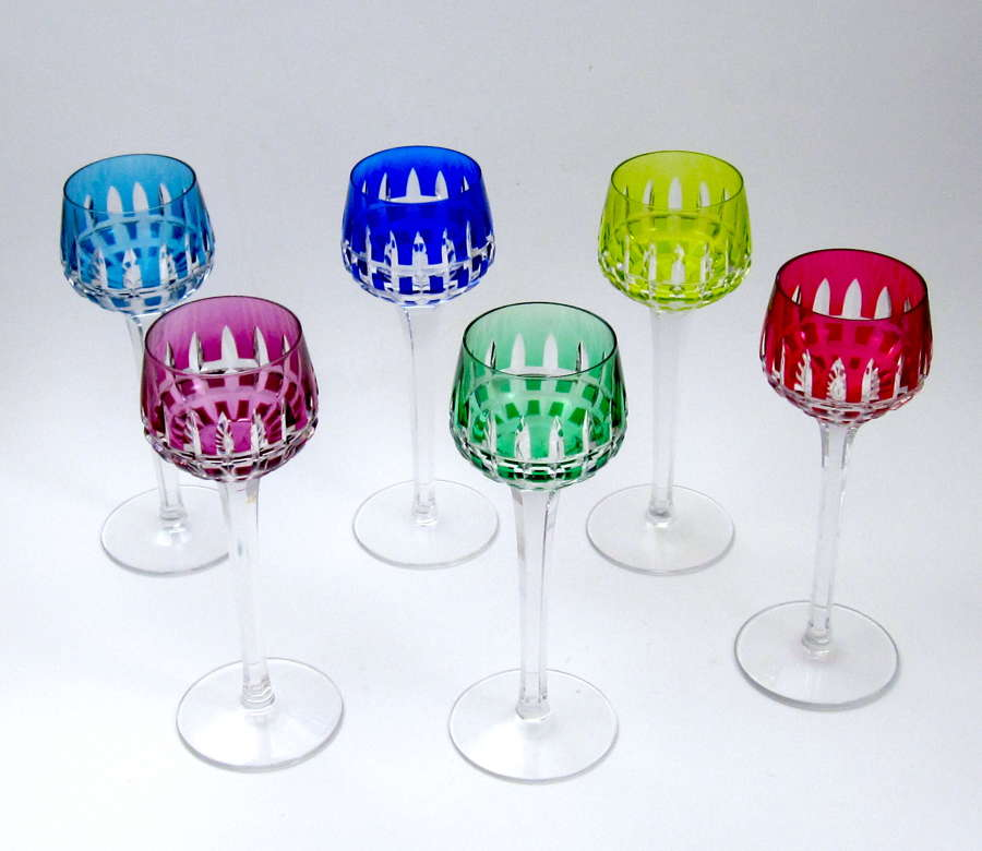 Six Tall Antique Signed St Louis CrystalOverlay Wine Glasses.