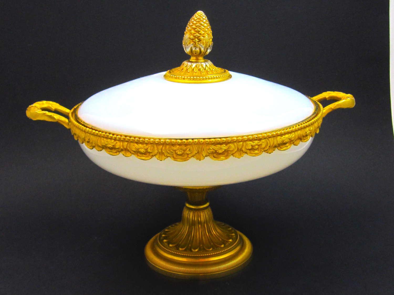 LARGE Elegant Antique French Opaline Glassand BronzeCentrepiece.