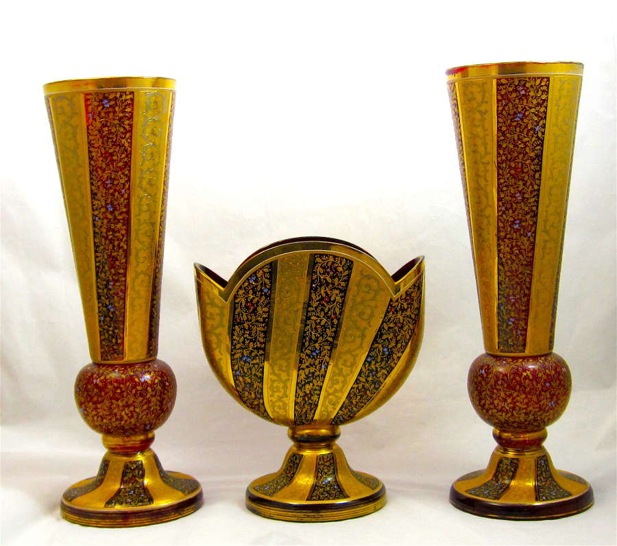Rare Monumental Museum Quality MOSER Ruby Red Enamelled Set