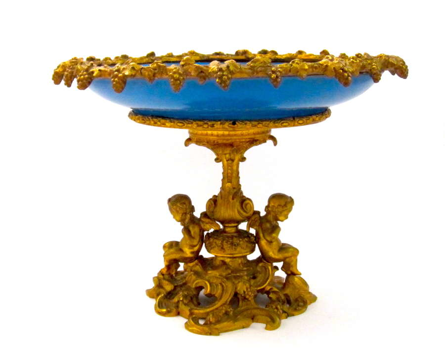 Large Antique Napoleon III Dore Bronze and Porcelain Centrepiece.