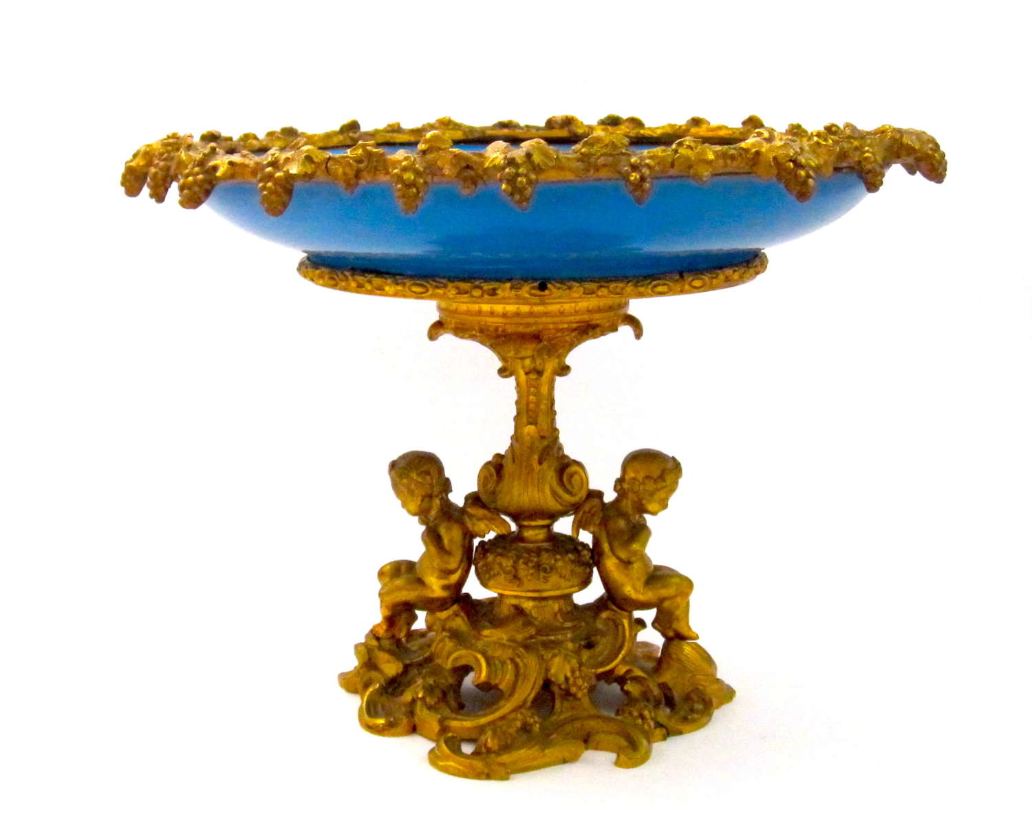 Large Antique Napoleon III Dore Bronze and Porcelain Centrepiece.