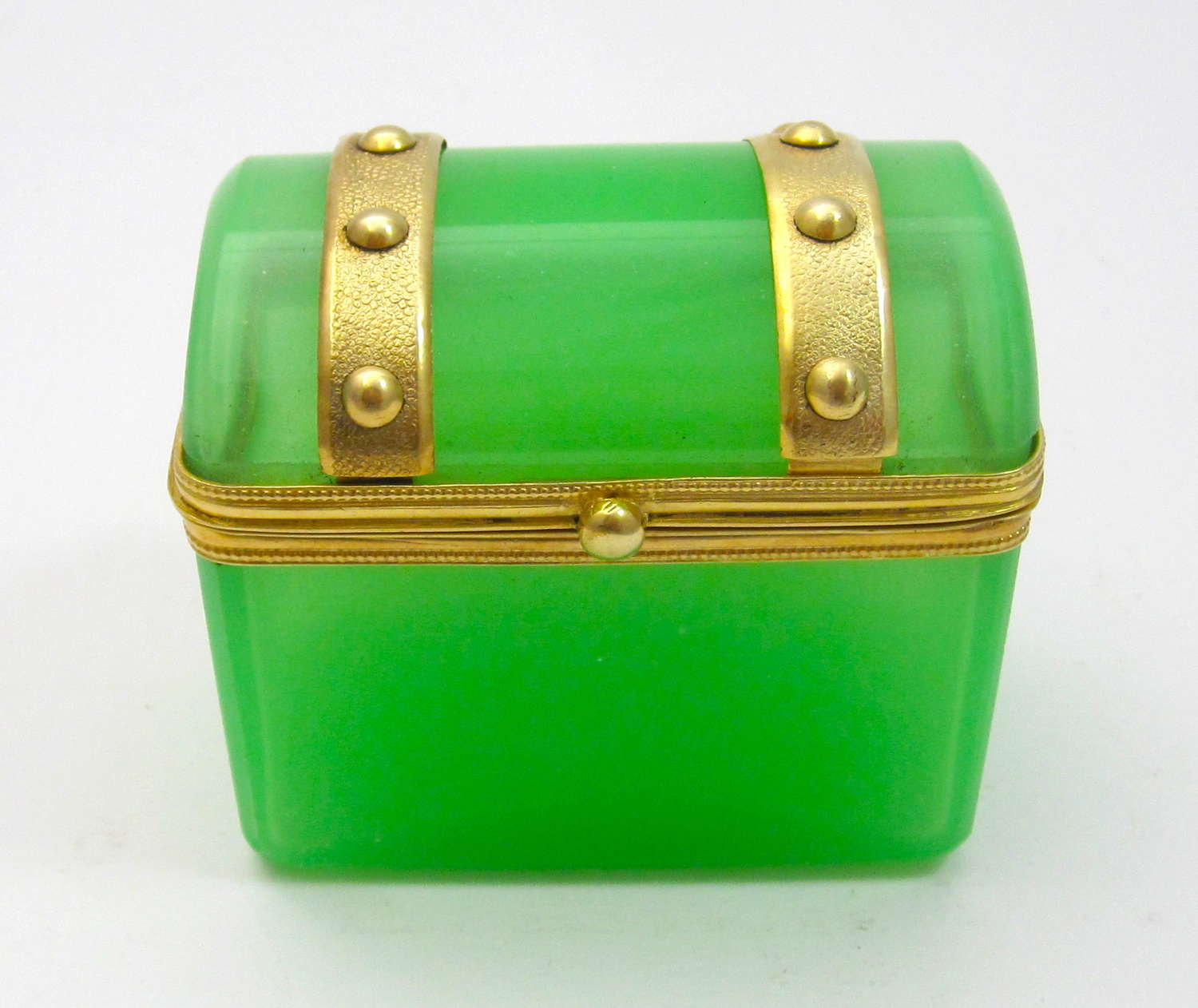 Antique Miniature French Green Opaline Casket