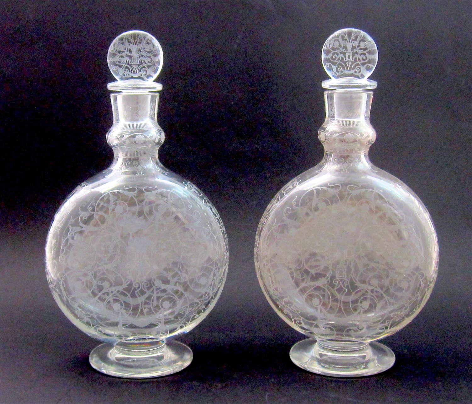 A Tall Pair of Antique Signed Baccarat Engraved Perfume Bottles