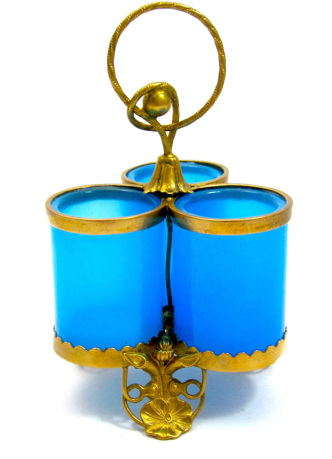 Antique French Palais Royal Blue Opaline Glass Pot with Lily Pads