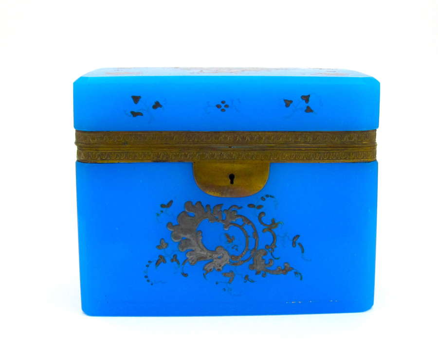 Large Antique Blue Opaline Casket Box with Silver Enamelling