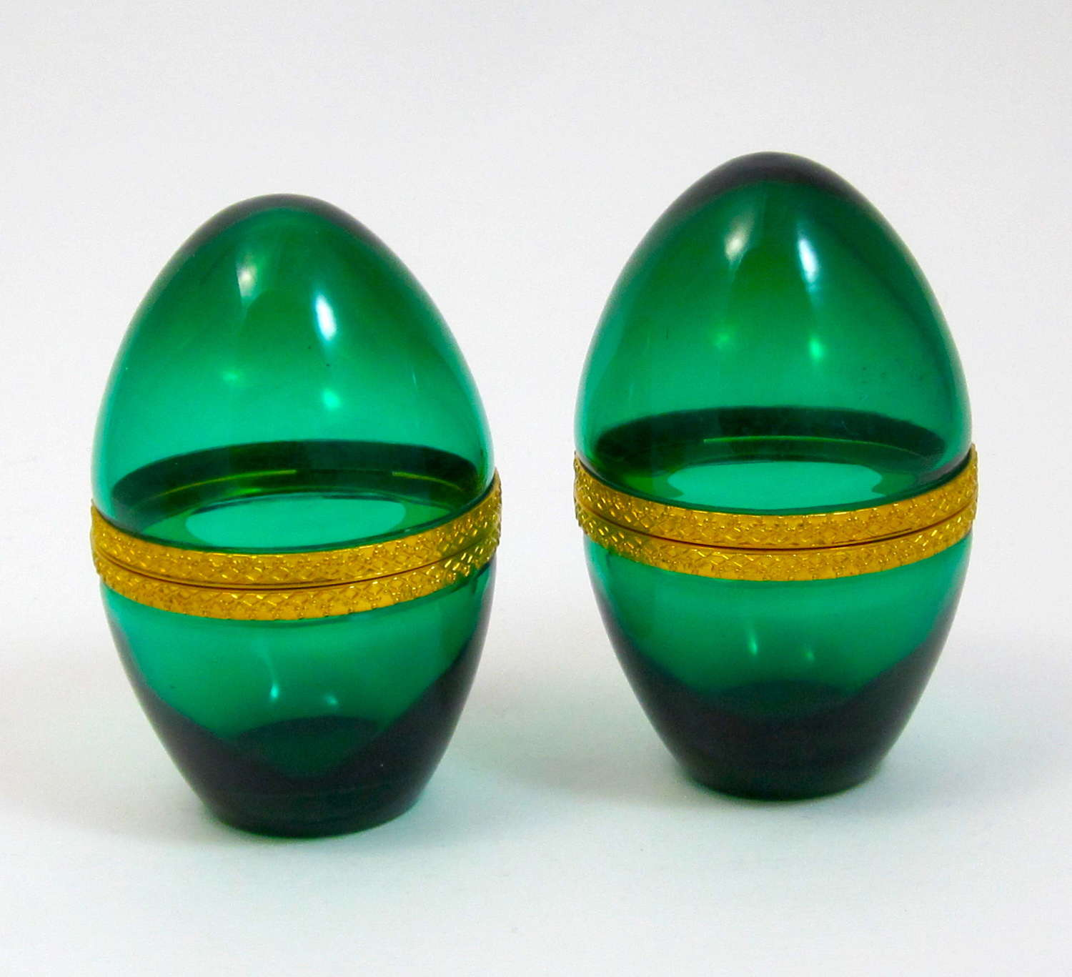 A Pair of Antique Emerald Green Glass Egg Box Caskets