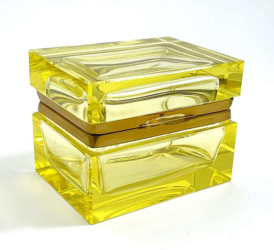 Antique Murano Uranium Glass Casket with Smooth Mounts and Lift Clasp.