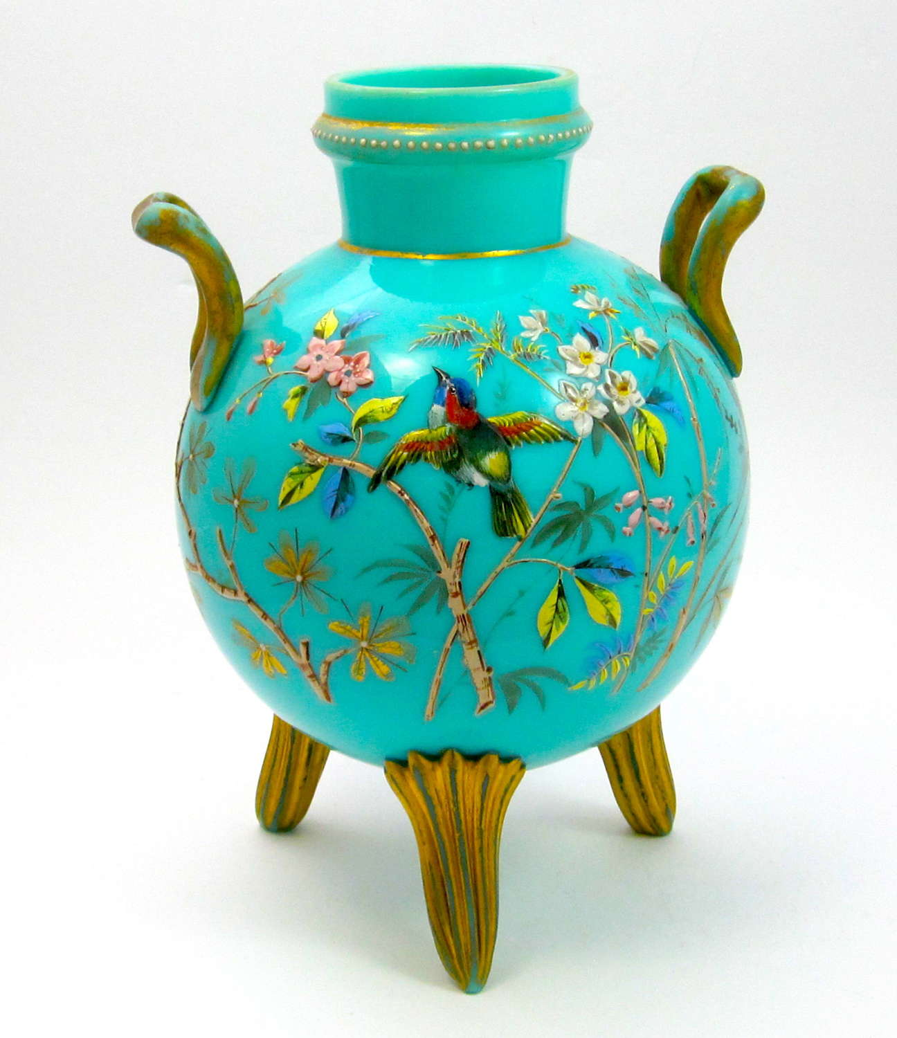 Large Antique MOSER Turquoise Opaline Glass Vase