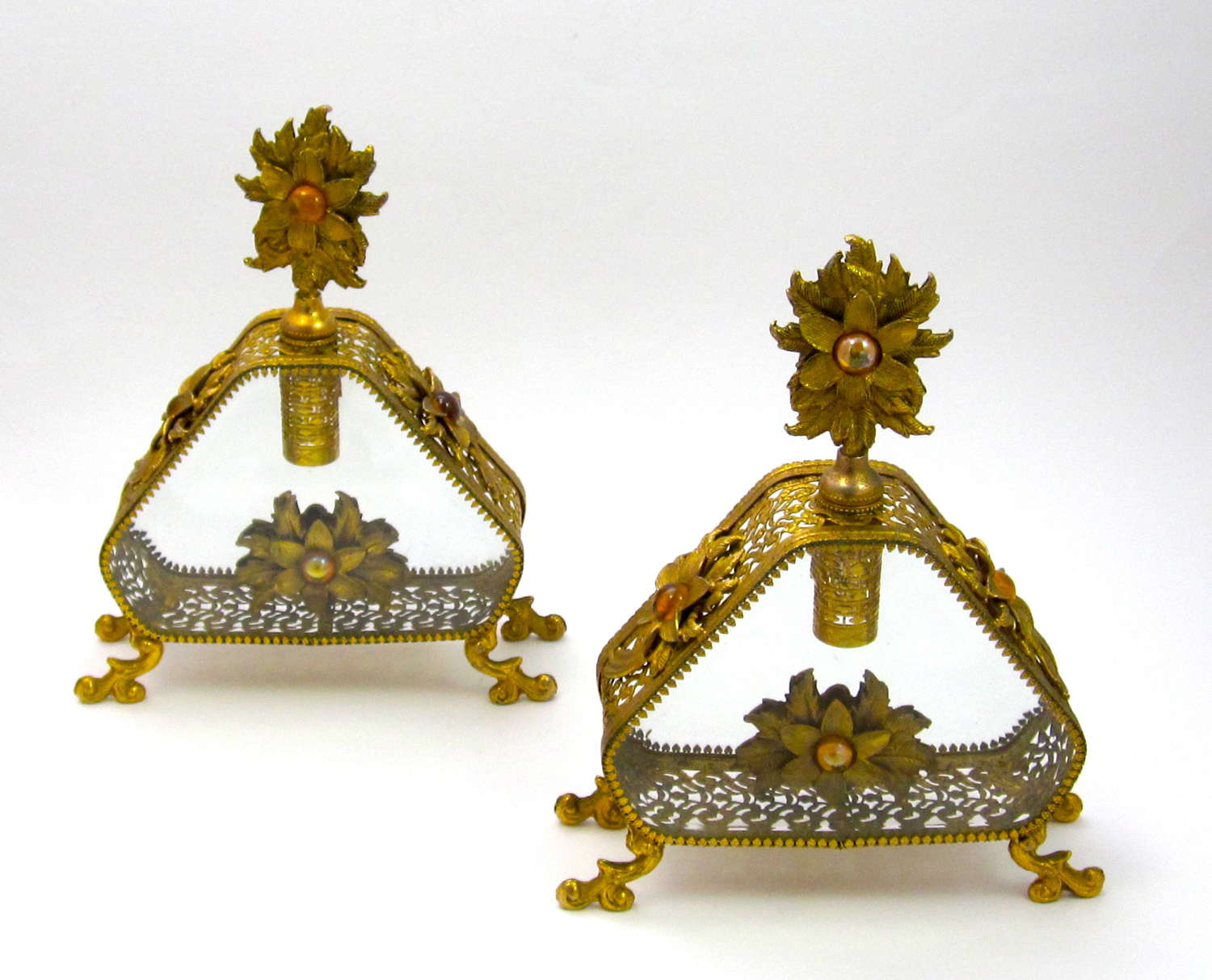 Pair of Large Antique French Jewelled Perfume Bottles