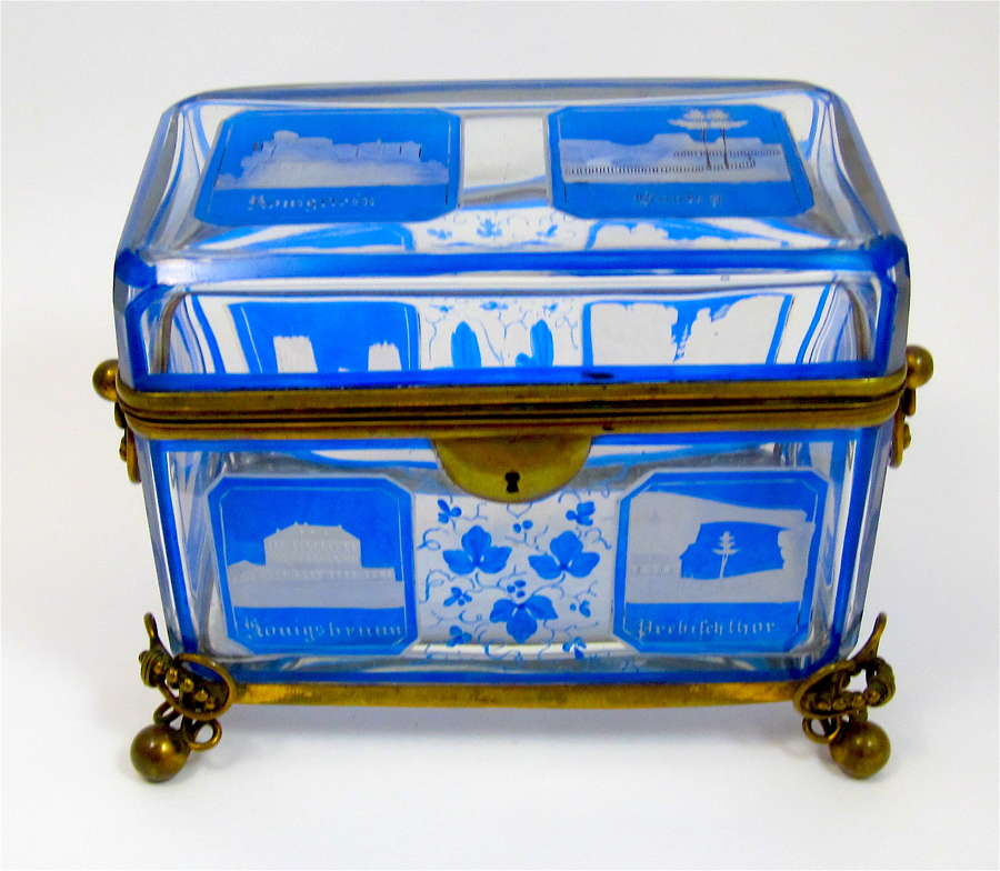Large Antique Bohemian Blue Cut to Clear Overlay Glass Spa Hinged Box