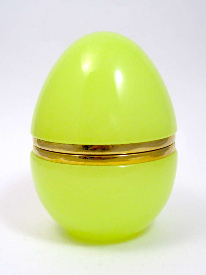 Large Antique Yellow Opaline Glass Egg Casket Box