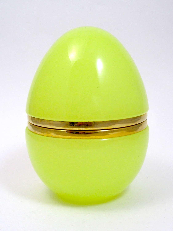 Large Antique Yellow Opaline Glass Egg Casket Box