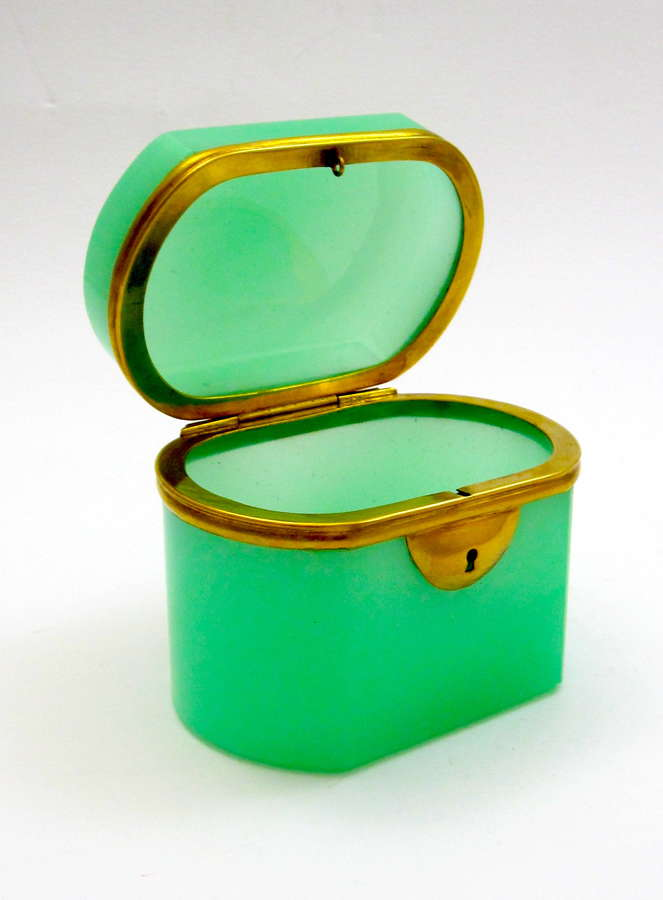 Antique French Green Opaline Glass Casket Box