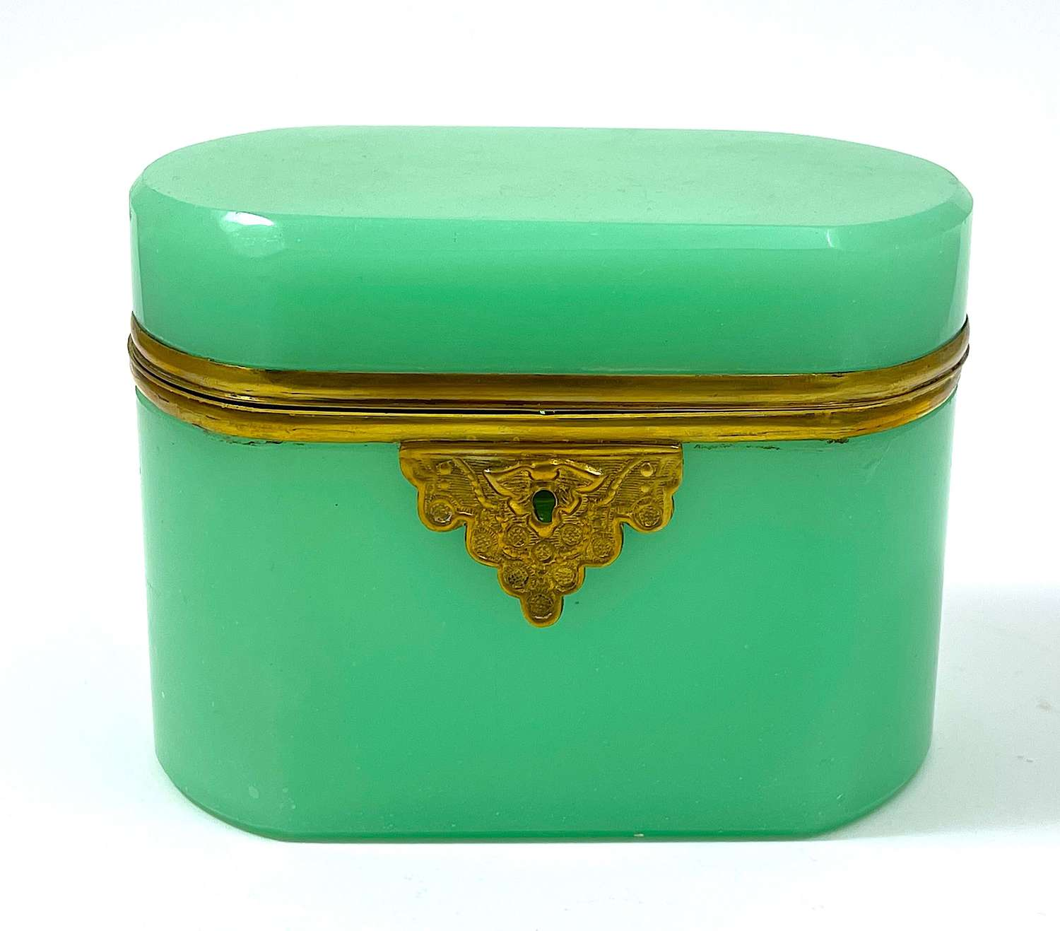 Antique French Green Opaline Glass Casket