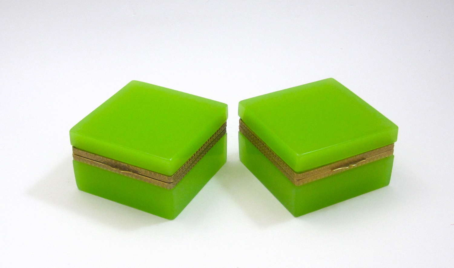 Pair of Antique Green Opaline Glass Square Boxes