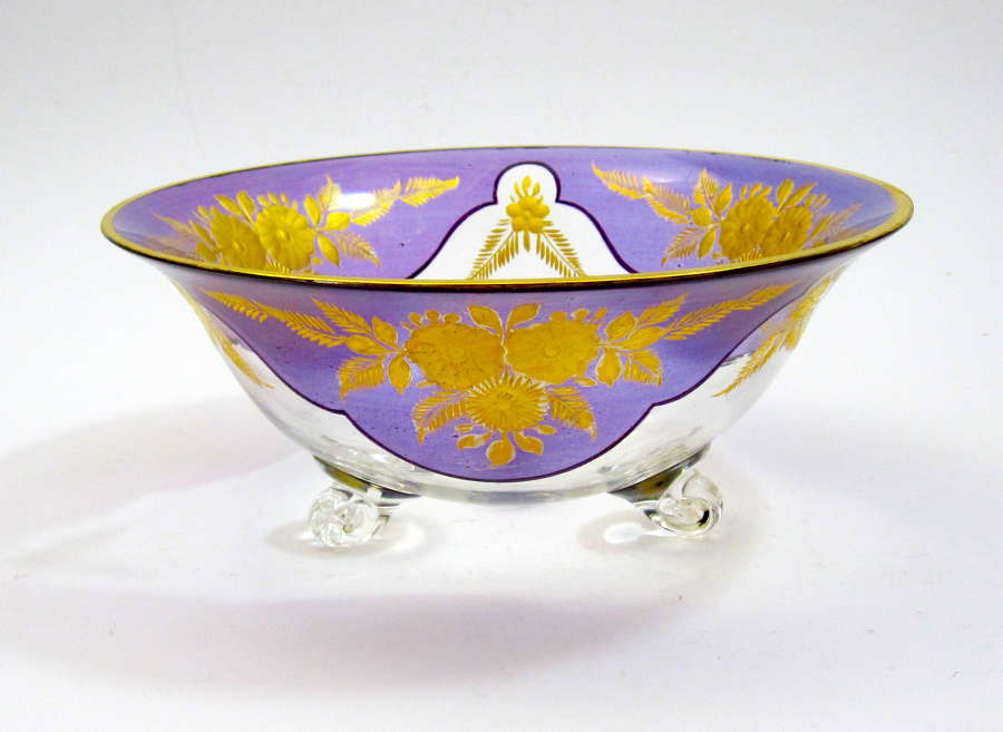 Stunning Antique Bohemian MOSER Purple and Gold Enamelled Bowl