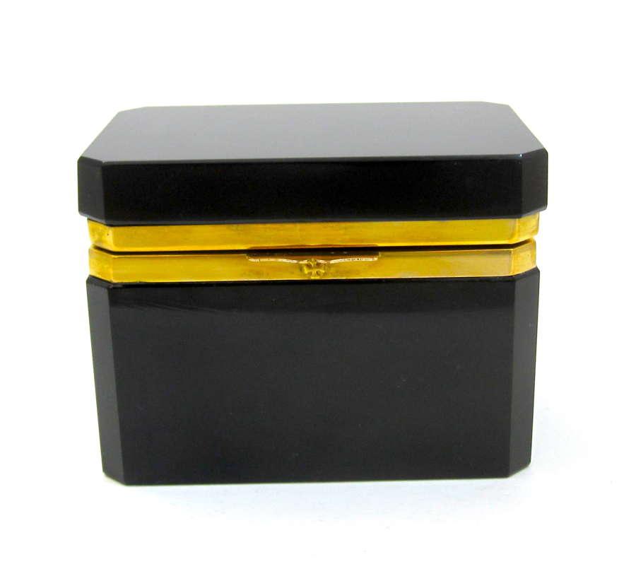 Vintage Italian Murano Black Opaline Glass Casket Box