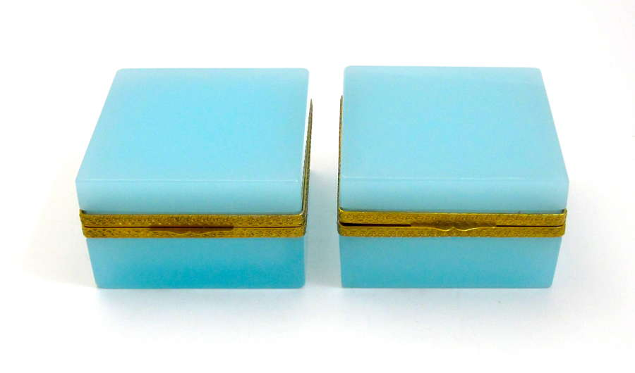 Pair Antique Turquoise Blue Opaline Glass Square Boxes