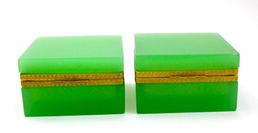 Pair of Antique Green Opaline Glass Casket Boxes