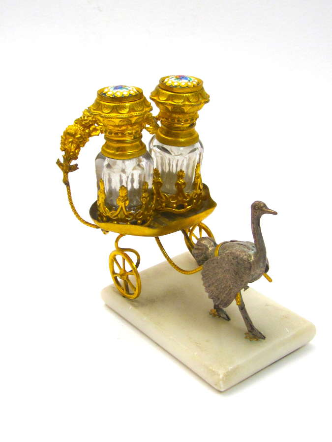 Unusual Antique Palais Royal Ostrich with 2 Glass and Perfume Bottles