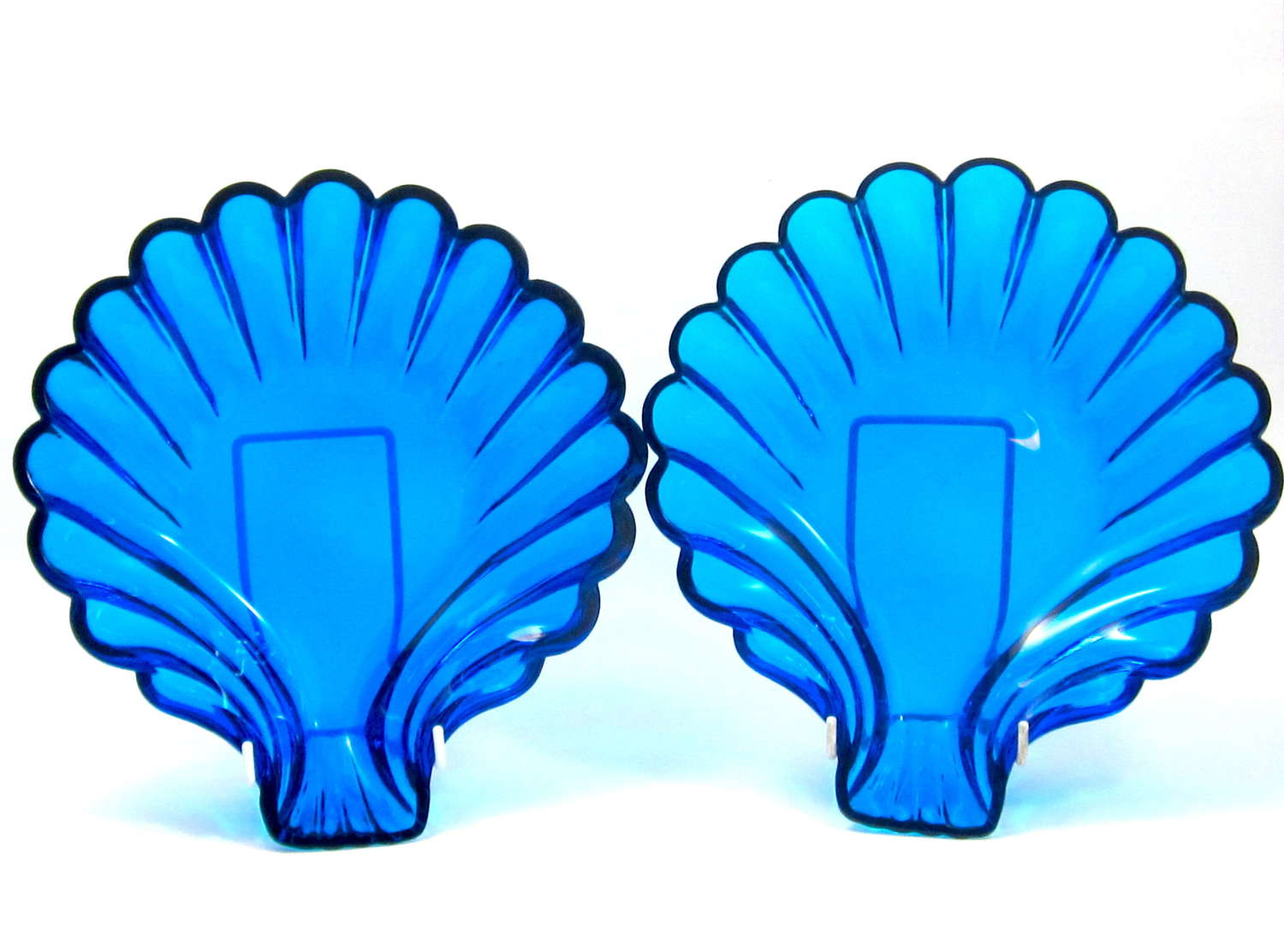 Stunning Pair of Antique French Clear Blue Glass Scallop Shell Dishes