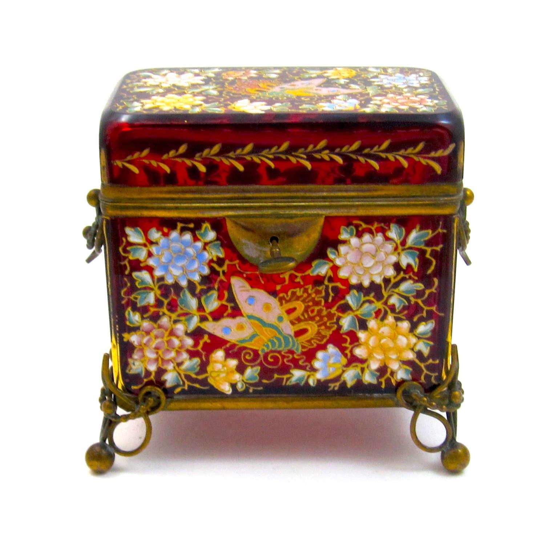 Antique MOSER Red Enamelled Casket Box & Key