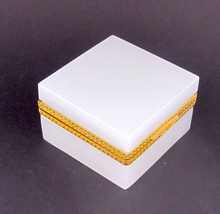 Large Antique White Opaline Glass Square Box