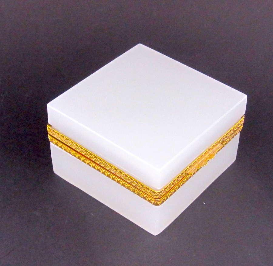 Large Antique WhiteOpaline Glass Square Box