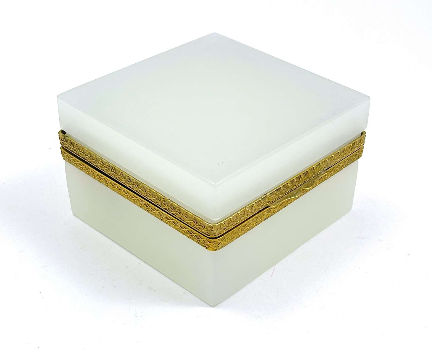 Antique White Opaline Glass Square Box with Fancy Dore Bronze Mounts