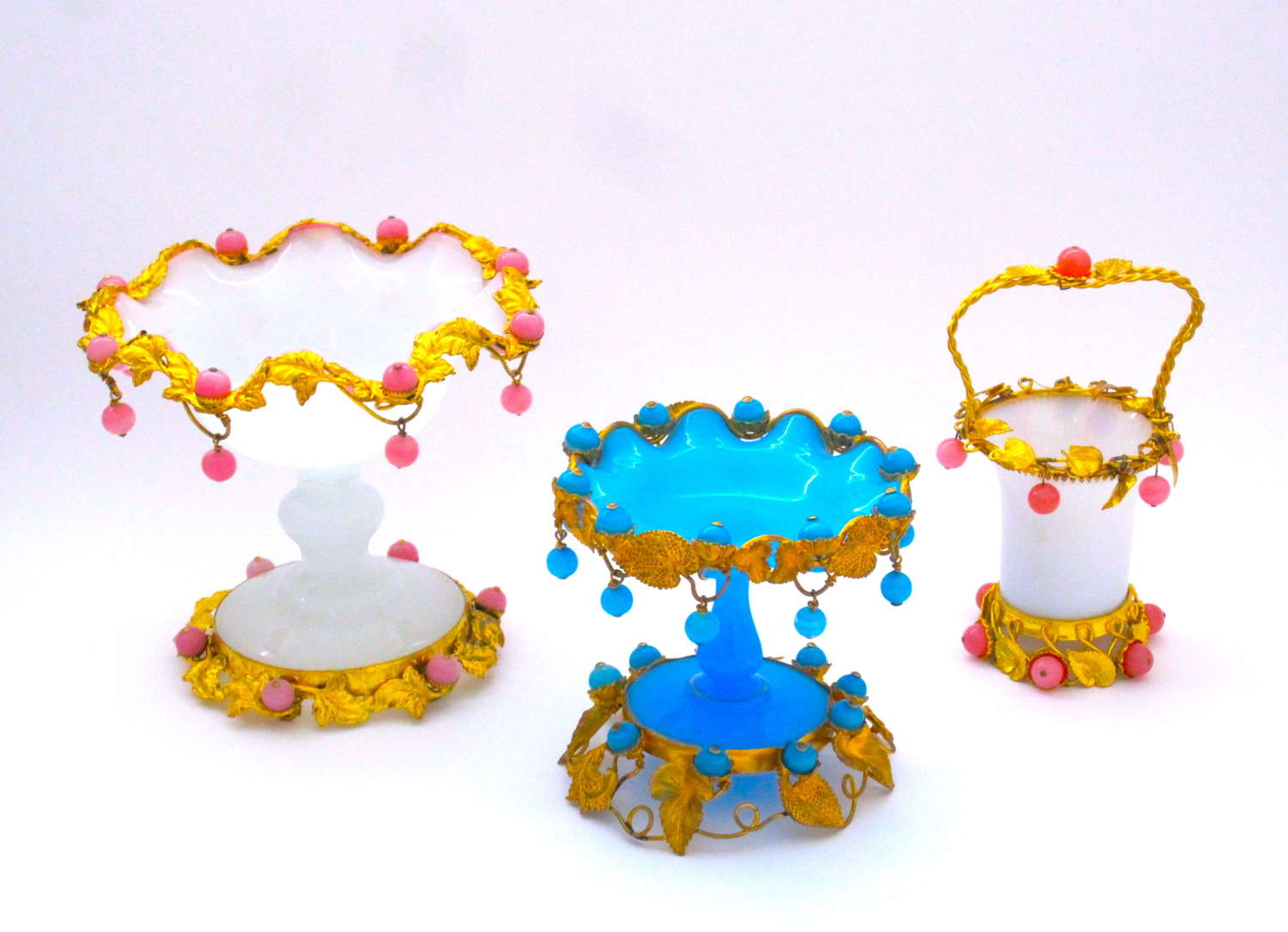 A Group of Antique French Palais Royal Opaline Glass Bowls