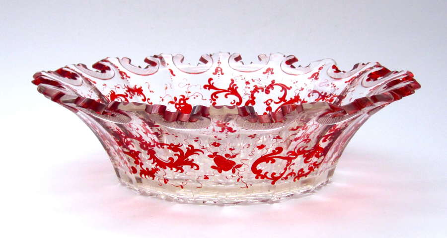 Antique Bohemian Ruby Red and Clear Bowl with Scalloped Rim