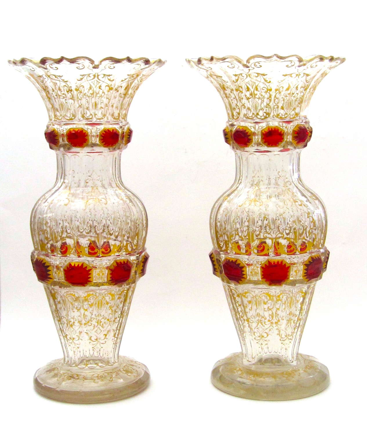 A Large Pair of Antique Bohemian Vases with Red Jewel Cabouchons