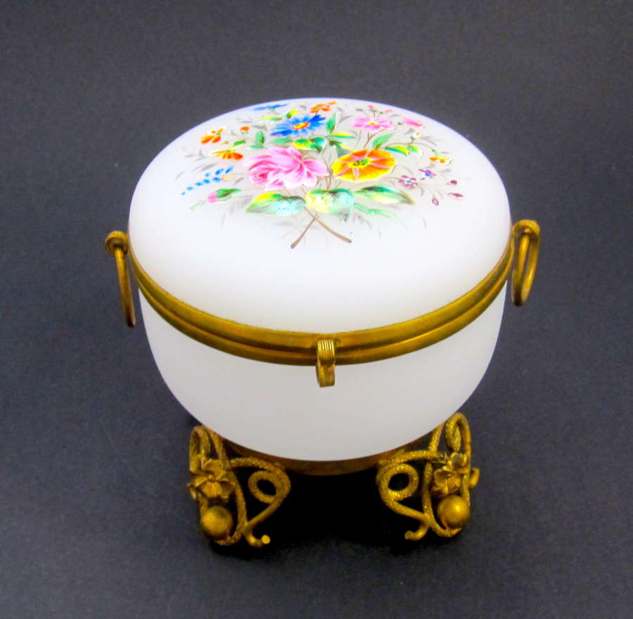 Antique French WhiteOpaline Glass Casket Box with Pretty Flowers