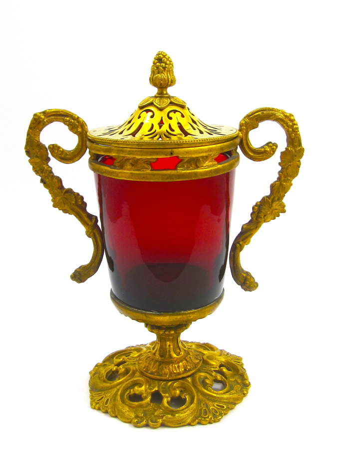 Antique French Ruby Red Baluster-Shaped Glass Vase and Cover