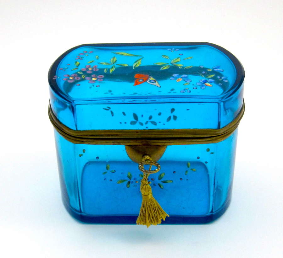 Antique French Crystal Casket Enamelled with Flowers and Butterfly