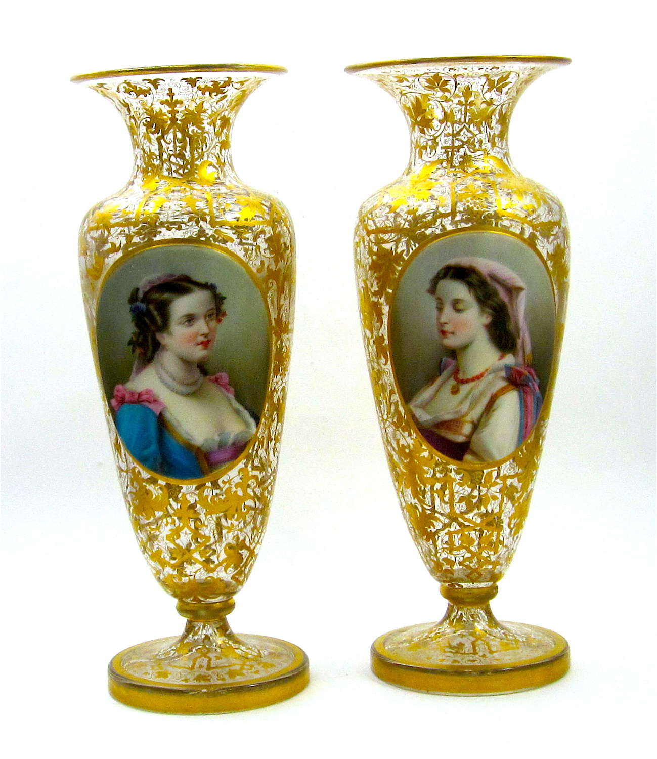Pair of Antique Bohemian Overlay Glass Portrait Vases