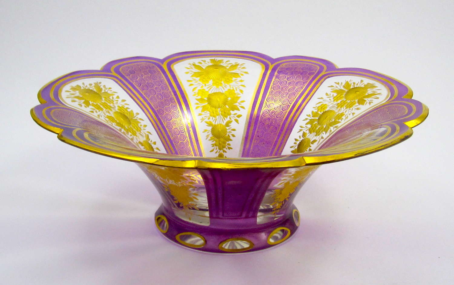 Stunning Antique Bohemian MOSER Lilac and Gold Enamelled Glass Bowl