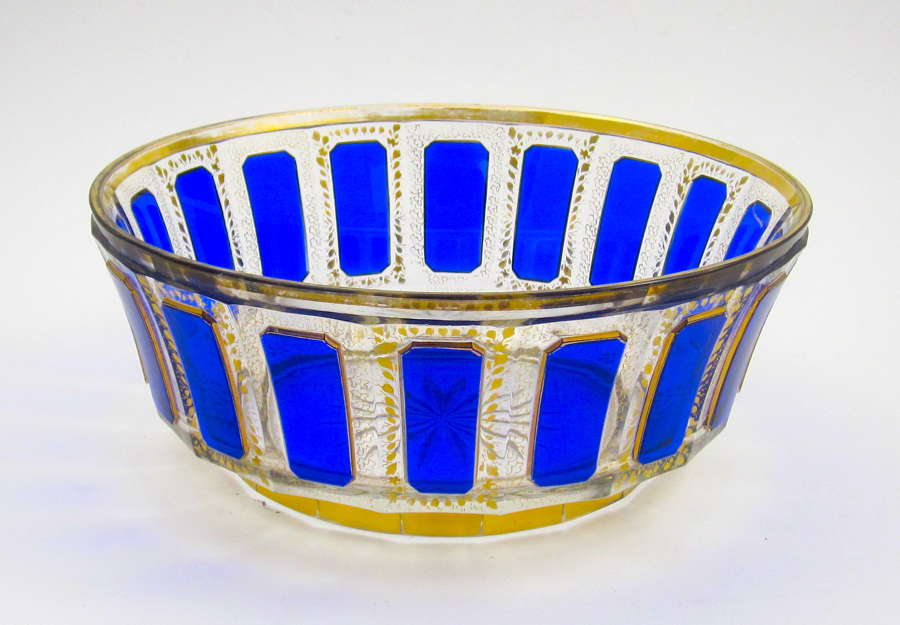 A Large Antique MOSER BlueCut to Clear Bowl