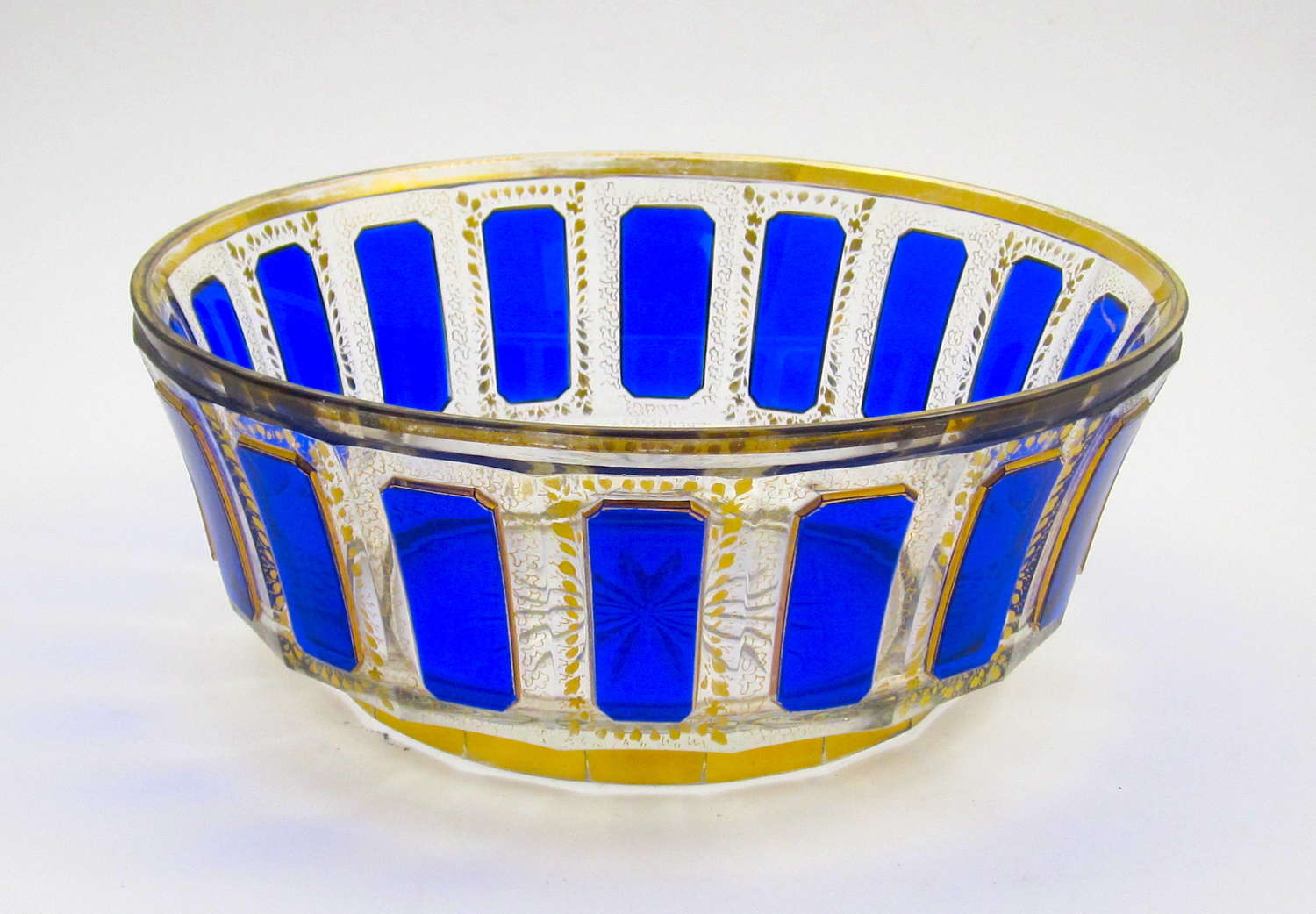 A Large Antique MOSER Blue Cut to Clear Bowl