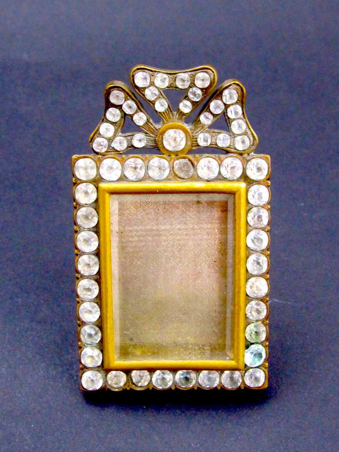 Antique Miniature French Paste Photo Frame with Bow