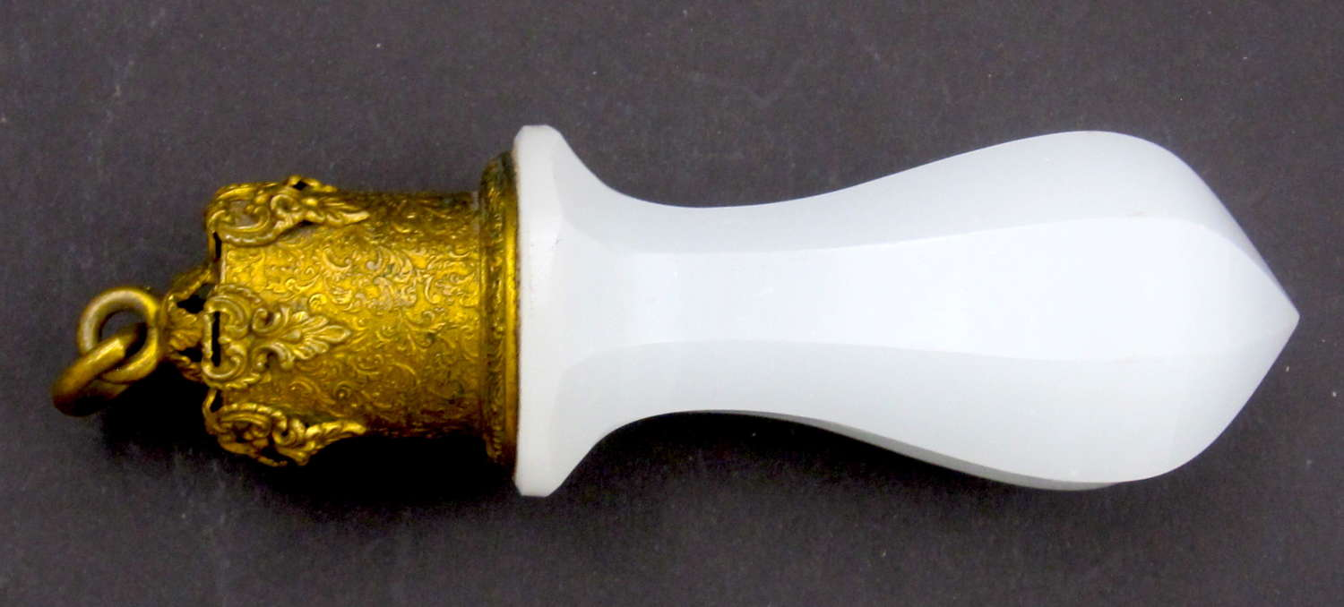 Antique French White Faceted Opaline GlassBell Pull