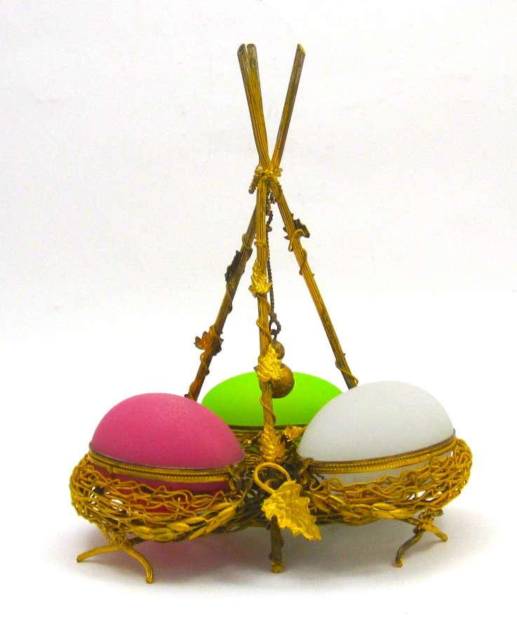 Palais Royal Triple Opaline Glass Egg Wigwam Box