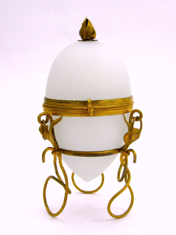 AntiquePalais Royal WhiteOpaline Glass Egg Shaped Casket Box